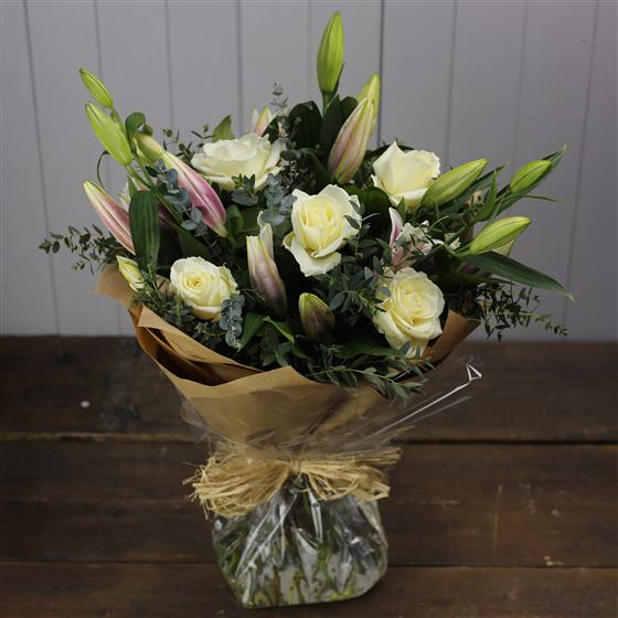 Oriental Lily and White Rose Bouquet