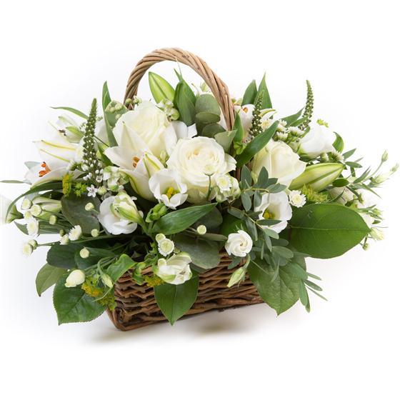 Flower Baskets Dublin : White basket funeral flowers rialto dublin